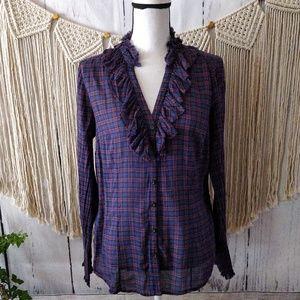 LOFT Purple Plaid Ruffle V Button Down Shirt 10